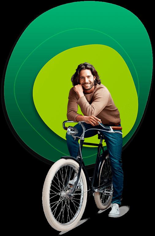 Homem em uma bicicleta